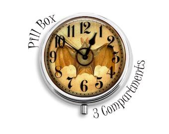 Bat Clock Pill Box, Gothic Pill Storage Case, Pill Holder, Stash Box, Compact Mirror, Pendant, Key Fob, Gift for Women