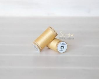 Organic Cotton Thread GOTS - 300 Yards Wooden Spool  - Thread Color Straw - No. 4802 -  Eco Friendly Thread - 100% Organic Cotton Thread
