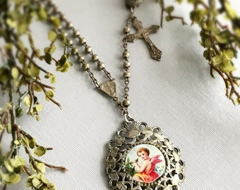 cherub necklace CUPID rosary necklace vintage assemblage valentines day jewelry angel necklace catholic jewelry rosary cross religious