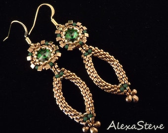 Emerald Green Earrings, Bridal Earrings, Bronze Earrings, Long Earrings, Pageant Earrings
