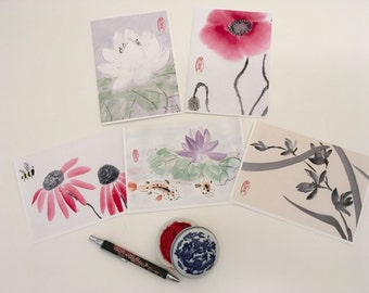 Blank Cards, Pack of 5 with Envelopes, Variety Pack, Nature, Any Occasion, Sumi-e, Chinese Watercolor, Print
