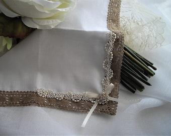 Burlap Lace Wedding Keepsake Bouquet Wrap Handkerchief White Delicate Vintage Inspired Bridal Shower Gift Pearls Pearls by Handcraftusa Etsy