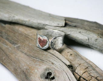 Handmade sterling silver hammered heart ring silver + copper