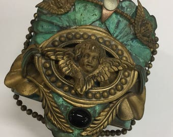 Vintage steampunk angel artsy beaded cuff