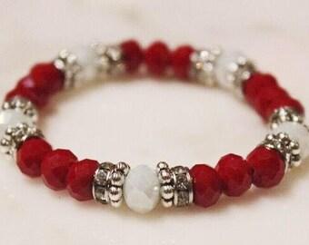 Crimson and White Beaded Bracelet