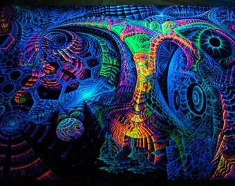 "Fluoro backdrop ""Singularity Microcosma"" Blacklight glow Wallhanging psychedelic fractal tapestry, visionary art decor, Andrew Pronin"