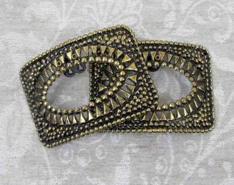 """Steel Shoe Clips - 2"""" x 1.5"""" - Rectangular with oval elliptical center - gold tone gilt - ca 40s - free US shg"""