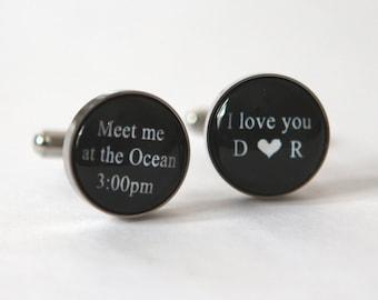 Bride to Groom Gift idea, Groom Cufflinks, Bride to Groom Gift Wedding day, Custom Cuff Links Personalized Cuff Links Wedding Cuff links