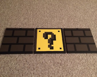 READY TO SHIP Mario Bricks and Question Mark Hand Painted Canvas Set of 3