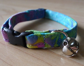 CAT COLLAR pastel batik tie dye break away with bell