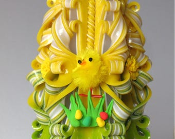 Easter candle yellow and green gift for Easter Carved candle decor on table yellow chick spring candle unique candles hand made dandelion