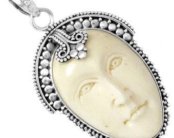 Goddess Face Pendant Carved Camel Bone 925 Sterling Silver