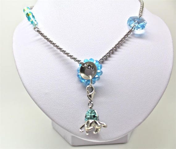 strassed octopus charm with jaseron inox chain and swarovski elements