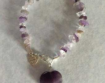Light and dark amethyst mix bracelet