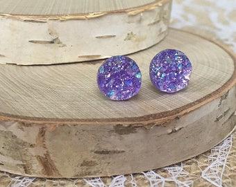 Druzy Stud Earrings - Purple - 10mm