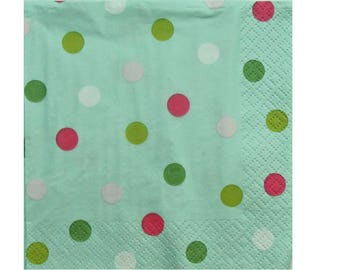 Set of 3 HOD114 polka dot pink, white and green on green paper napkins