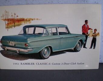 Vintage Mid Century Unused Car Advertisement Postcard - 1962 Rambler Classic
