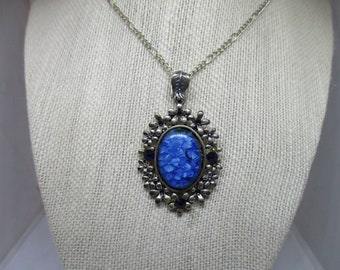 Blue Floral Cameo