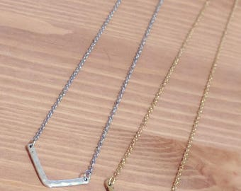 Chevron layering necklace. Silver and Gold chevron necklace.