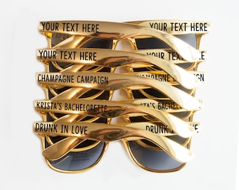 Custom Gold Bachelorette Party Wedding Sunglasses