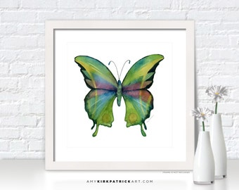 Green Butterfly Painting, Butterfly Art, Butterfly Print, Original Butterfly Watercolor, Butterfly Greeting Cards, 11 Prism Butterfly