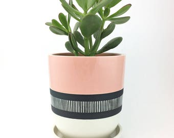 MADE TO ORDER Porcelain Planter with Hand Painted Stripe Pattern