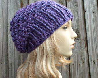 Womens Chunky Knit Hat Fall Fashion Warm Winter Hat Knit Accessories - Honeycomb Slouchy Beanie - Purple Hat Purple Beanie - READY TO SHIP
