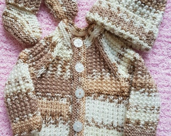 Hand Knitted Baby cardigan, Hat and Booties