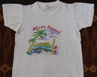 Vintage 1960s 60s Aloha Hawaii t shirt Derby made in USA size 10-12