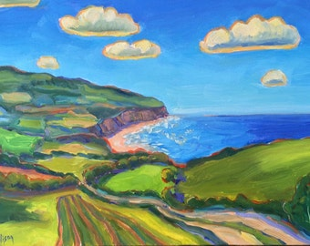 Coastal Landscape Colorful Original Oil Painting Wall Decor