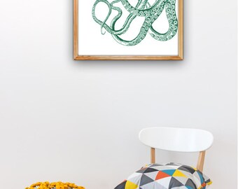 Emerald Green half Octopus A3 plus sized Poster Wall Art - Half green octopus - sea life print SAS254A3P