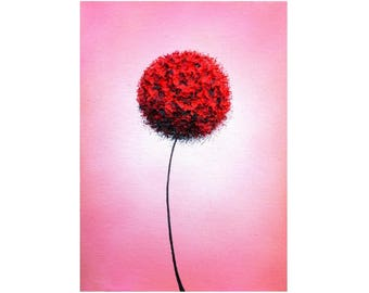 ORIGINAL Oil Painting, Dandelion Flower, Contemporary Art Miniature Painting, Red Flower Art, Abstract Floral Art, Impasto Wall Art, 5x7