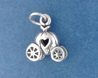 Cinderella PUMPKIN CARRIAGE Charm .925 Sterling Silver Coach, Fairy Tale Small Pendant - lp1952