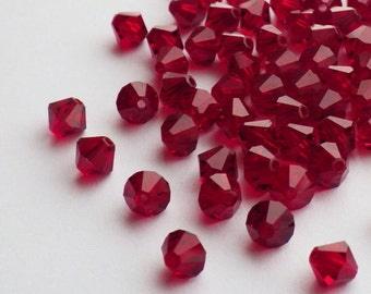 Vintage Swarovski Crystal Beads, 5mm Siam, Article 5301, 50 Vintage Crystal Beads