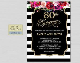 80th birthday invitations etsy 80th surprise birthday invitation filmwisefo