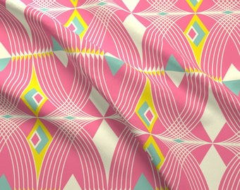 Art Deco Fabric - Summer Deco By Fable Design - Art Deco Geometric Bold Summer Print Cotton Fabric By The Yard With Spoonflower