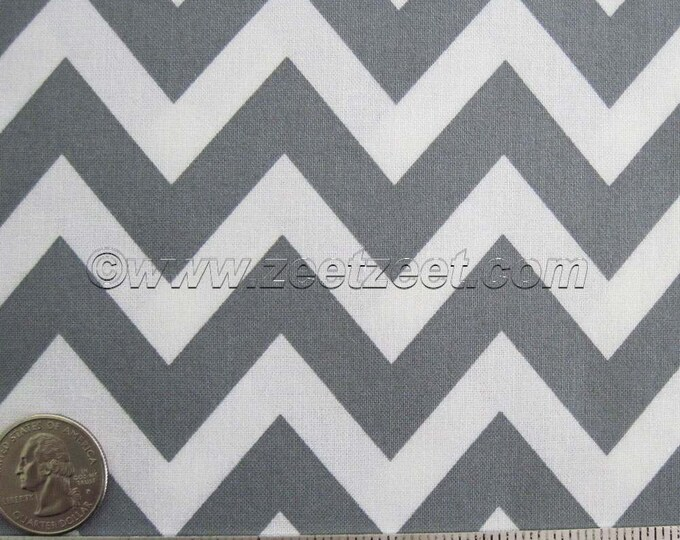Robert Kaufman Remix ZIG ZAG, Grey Chevron - Cotton Quilt Fabric - 1 Fat Quarter 18 x 45 Inches or 1 Remnant 23 x 45 Inches - 2 Pieces Total