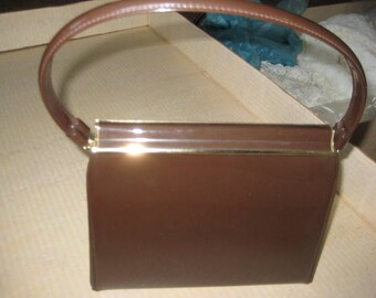Vintage Kelly Bag/Brown Patent Leather/Gold Tone Clasp