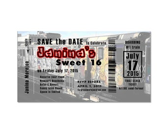 Quince and sweet 16 invitation ticket train save the date party cards