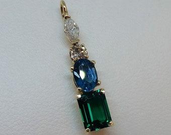 Emerald, London Blue Topaz, and Diamond Pendant
