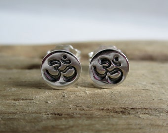 Om Sterling Silver Stud Earrings