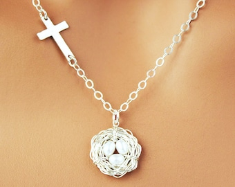 Sterling Silver, Sideways Cross / Bird Nest Necklace - Nest of 1 2 3 4 5 6 or 7 Pearl Eggs - Christian Mother's Day Gift