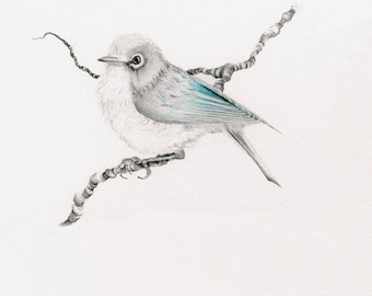 Blue Bird Wall Art Blue Bird Illustration Fine Art Print of my Origina Bird Drawing Illustration Bird Art Print Bird Decor Minimalist Bird