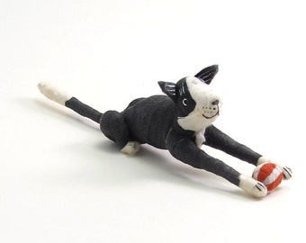 Vintage Style Spun Cotton Black and White Tuxedo Cat With Ball Figure/Ornament (MADE TO ORDER)