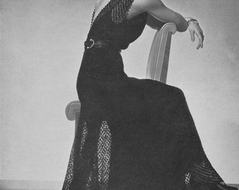 KNITTING PATTERN Vintage 1930s Alora Evening Gown Dress Instant Download PDF