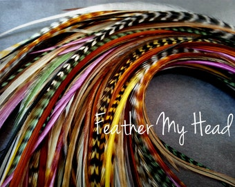 16 Feather Hair Extensions, Long Whiting Grizzly Real Rooster Feathers, 9-12 inches long,