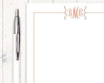 personalized notePAD - FLOURISH MONOGRAM - stationery - stationary - monogrammed notepad - letter writing paper