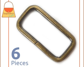 """1.25 Inch Rectangle Wire Loop / Ring, Antique Brass / Bronze Finish, 6 Pieces, Purse Handbag Bag Supplies, Rectangular 1-1/4"""", RNG-AA162"""