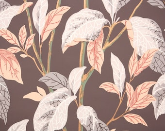 1940s Vintage Wallpaper by the Yard - Coral Leaves on Brown Botanical Wallpaper