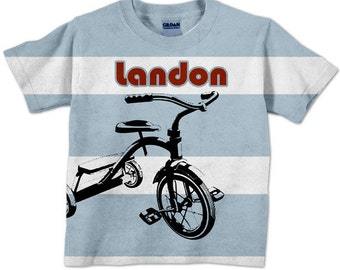 Boys Tricyle Shirt, Striped Personalized T-Shirt, Childrens Clothing